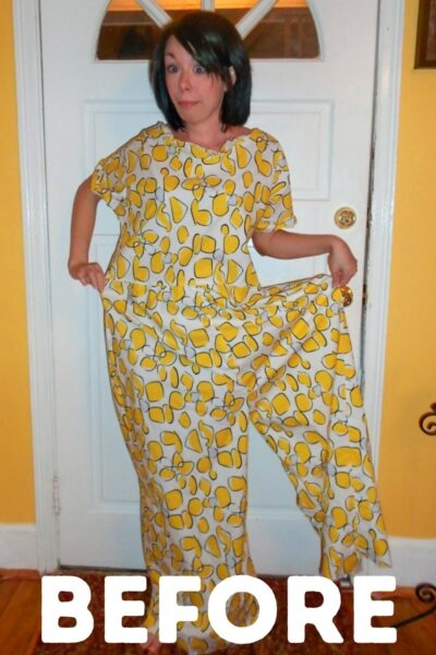 Tacky Jumpsuit to Dress Refashion Pin 2