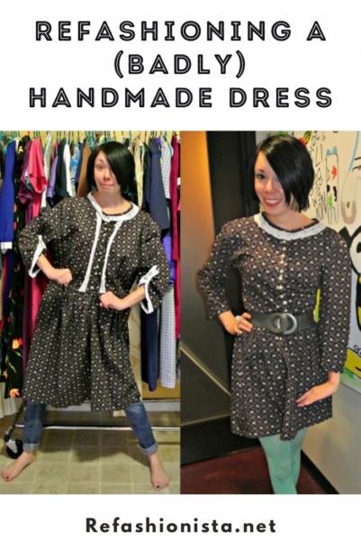 refashionista Refashioning a badly handmade dress Pin 3