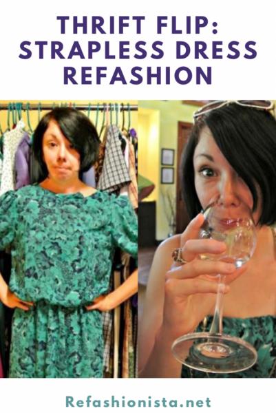 DIY Strapless Dress Georgia Winery Refashion Pin 4