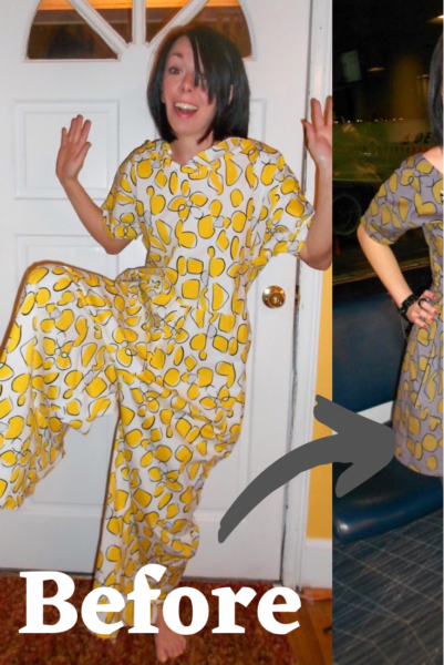 Tacky Jumpsuit to Dress Refashion Pin 4