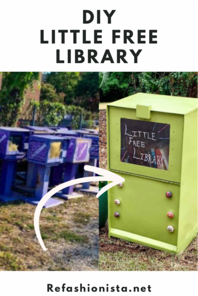 DIY Little Free Library (from an Old Newspaper Box!) pin 2