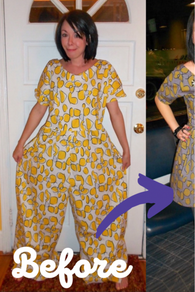 Tacky Jumpsuit to Dress Refashion Pin 5