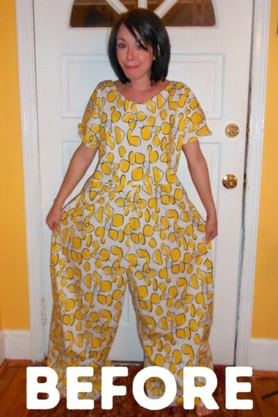 Tacky Jumpsuit to Dress Refashion Pin 1