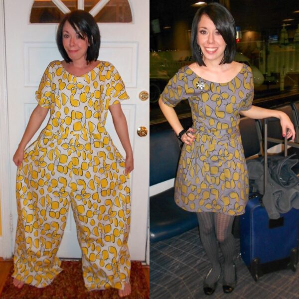 Tacky Jumpsuit to Dress Refashion Pin 9