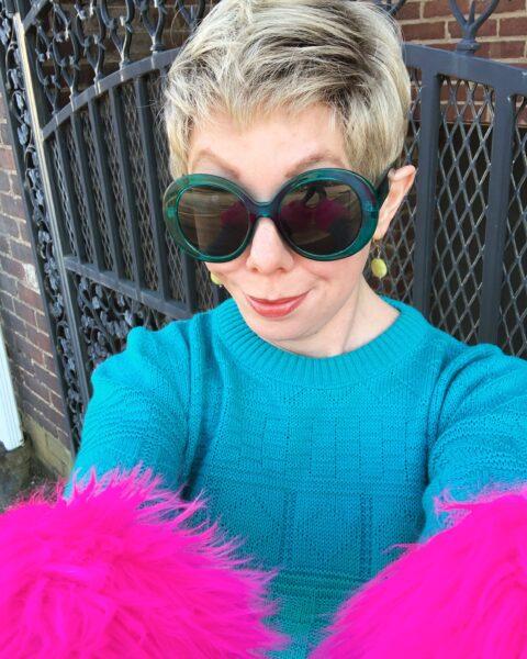 refashionista DIY Prada sweater dupe after selfie