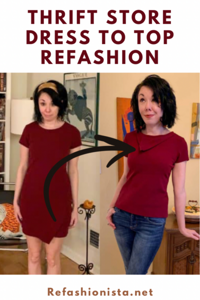 How to Refashion a Dress into a Top Without Sacrificing Bottom Details pin 2