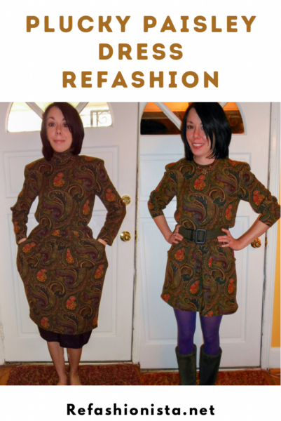 Plucky in Paisley Dress Refashion Pin 4