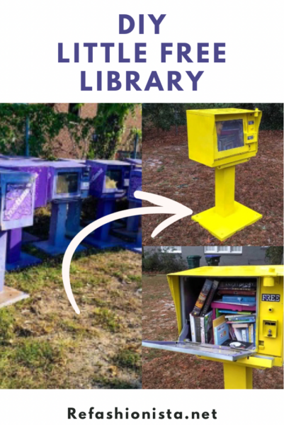 DIY Little Free Library (from an Old Newspaper Box!) pin 3