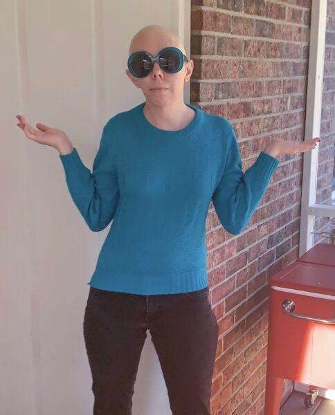 refashionista DIY Prada Sweater Dupe before
