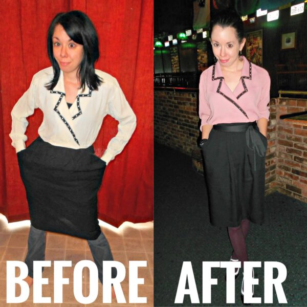 refashionista Dye It: Mauve Maven Dress before and after