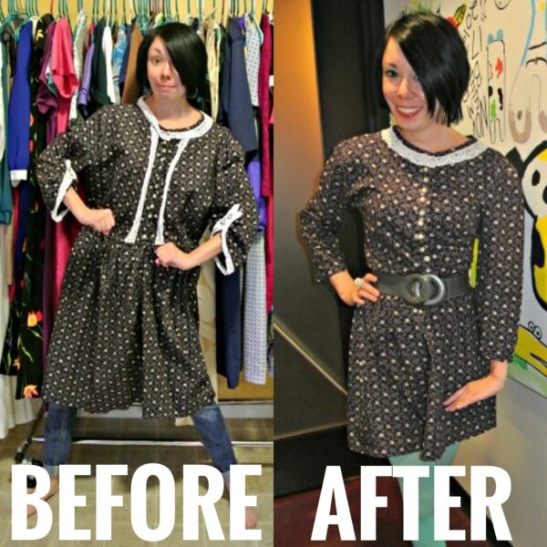 Refashioning a badly handmade dress before and after