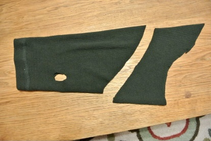 Sleeve cut into dog sweater