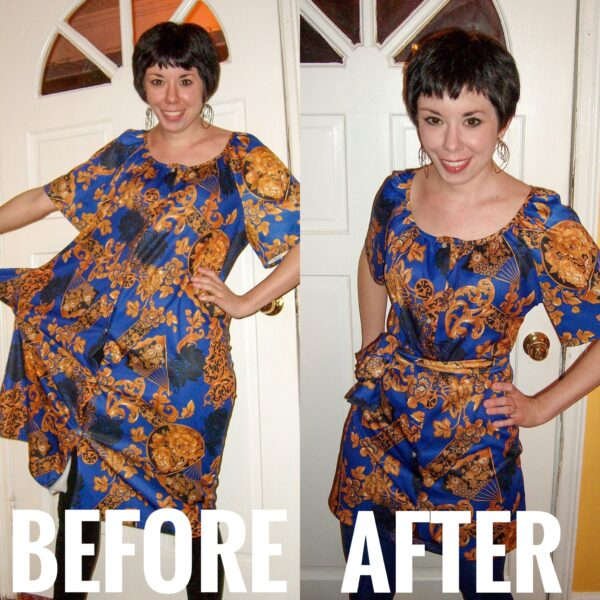 Muumuu to Art Show Dress Refashion before and after