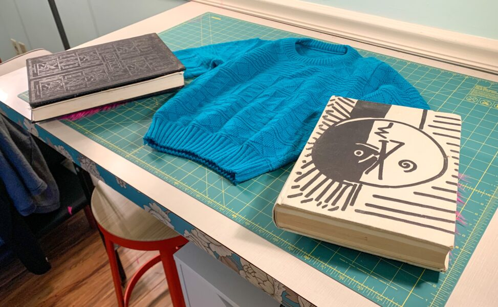 books on end of sleeves