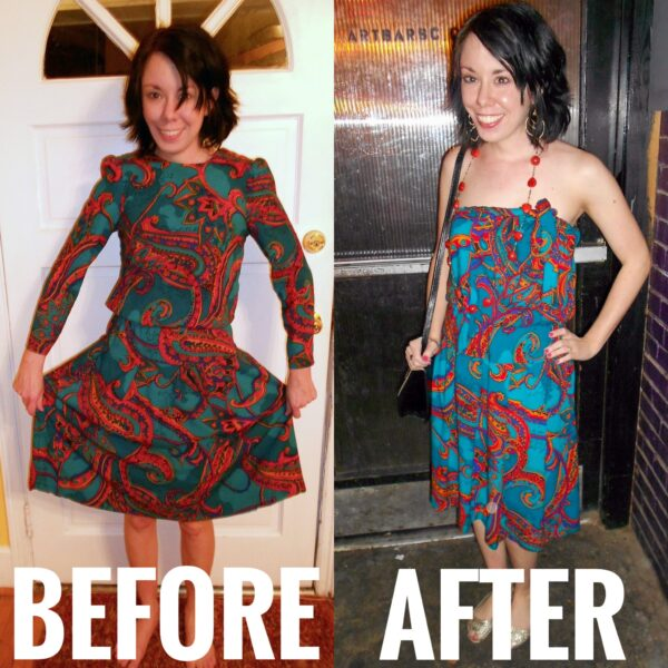Side Tie No Sew Dress Refashion Before and After
