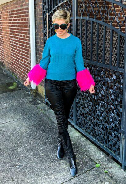 refashionista DIY Prada sweater dupe after smiling