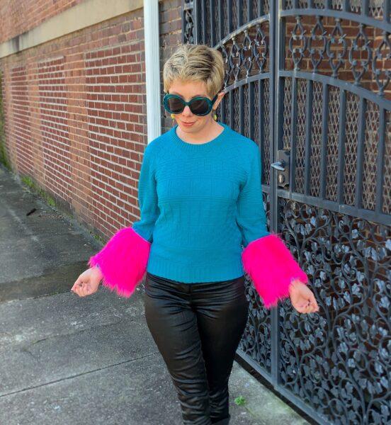 refashionista DIY Prada sweater dupe after close