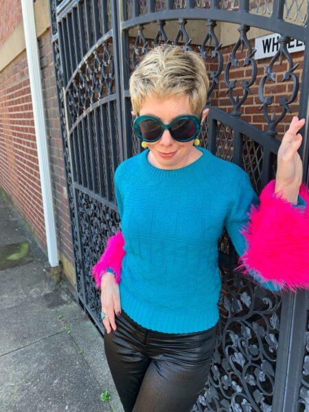 refashionista DIY Prada sweater dupe after waist up