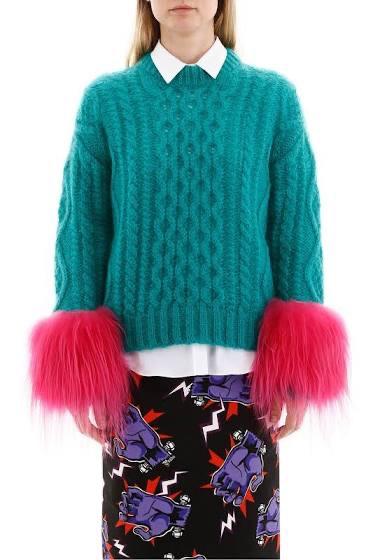 Prada sweater with fur trim
