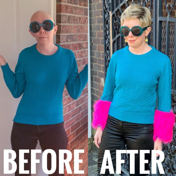 refashionista DIY Prada Sweater Dupe before and after