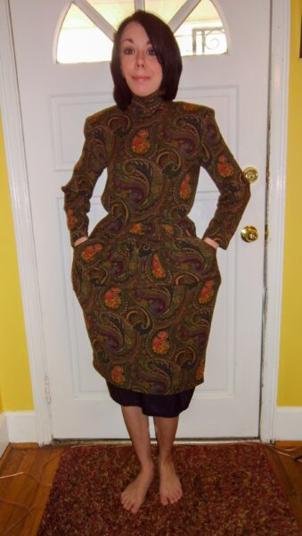 Plucky in Paisley Dress Refashion before