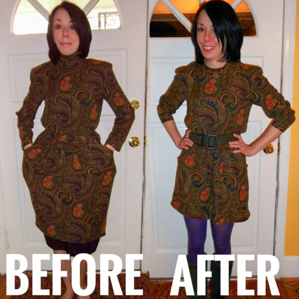 Plucky in Paisley Dress Refashion before and after