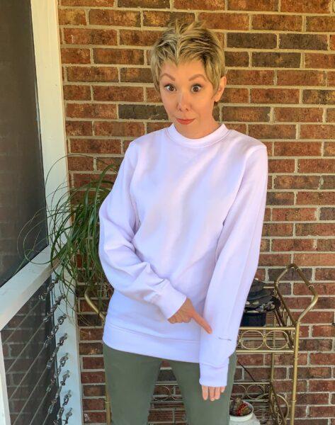 marking sweatshirt sleeve with safety pin