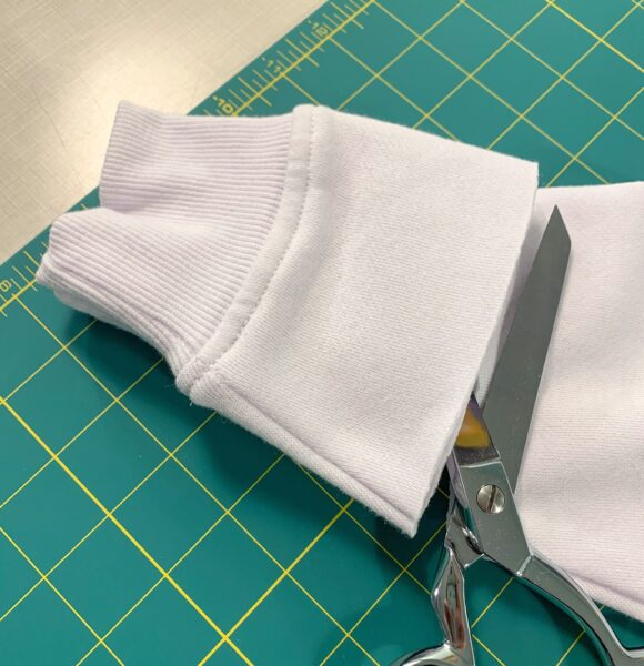cutting off second sleeve