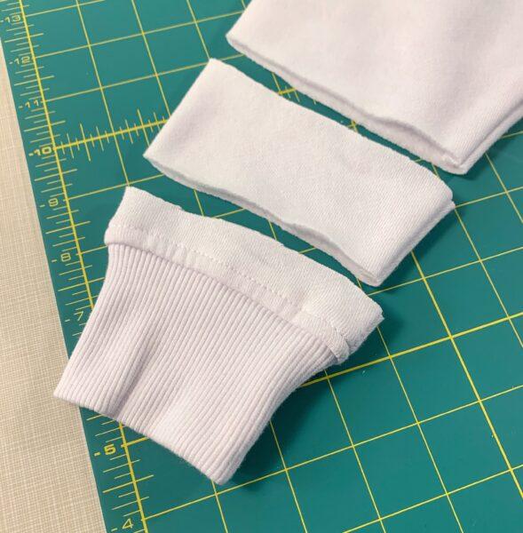 cutting of sweatshirt sleeve band