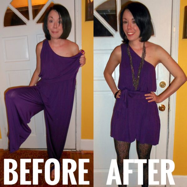 dress from a jumpsuit refashion before and after