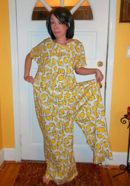 Refashionista Tacky Jumpsuit to Dress Refashion before 2