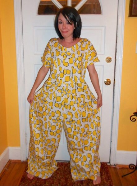 Refashionista Tacky Jumpsuit to Dress Refashion before 1