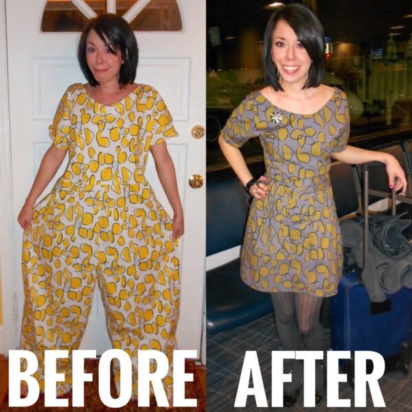 Refashionista Tacky Jumpsuit to Dress Refashion before and after