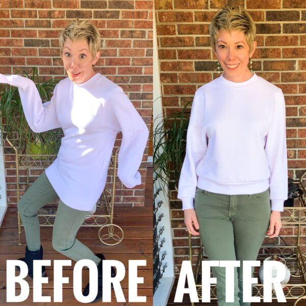 refashionista How to Crop a sweatshirt before and after