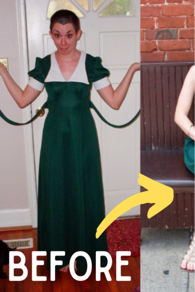 green with envy dress refashion pin 3
