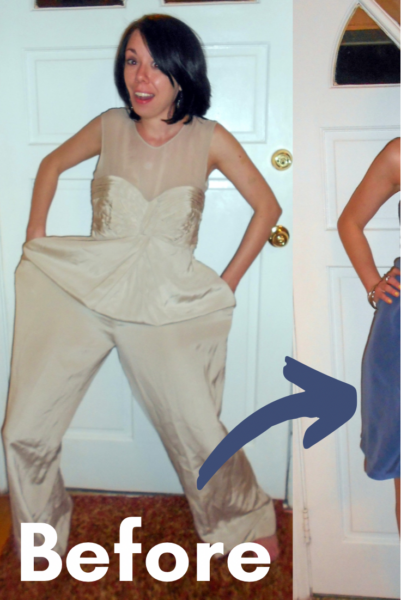 refashionista dyed silk jumpsuit to dress refashion before and after pin 2