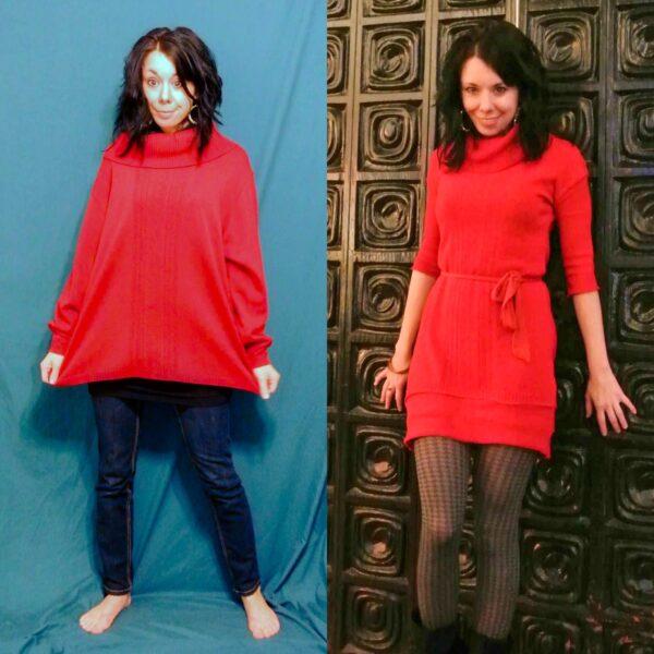 Refashionista Oversized Sweater to Sweater Dress Refashion pin 6