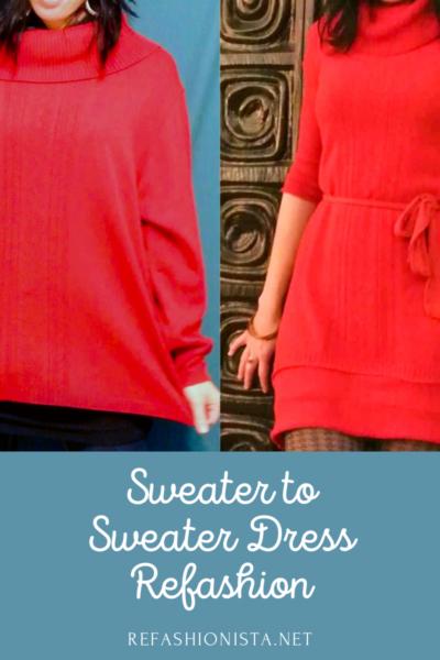 Refashionista Oversized Sweater to Sweater Dress Refashion pin 4