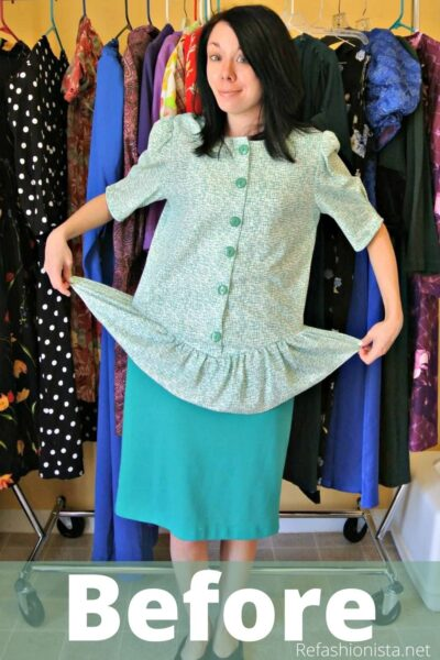 refashionista how to remove a peplum from a dress pin 1