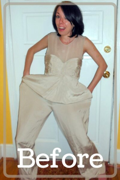refashionista dyed silk jumpsuit to dress refashion before and after pin 1