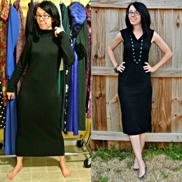 Little Black Sweater Dress Refashion Pin 4