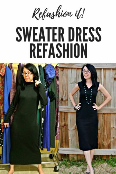 Little Black Sweater Dress Refashion Pin 3