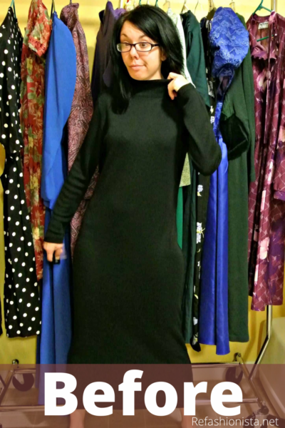 Little Black Sweater Dress Refashion Pin 1