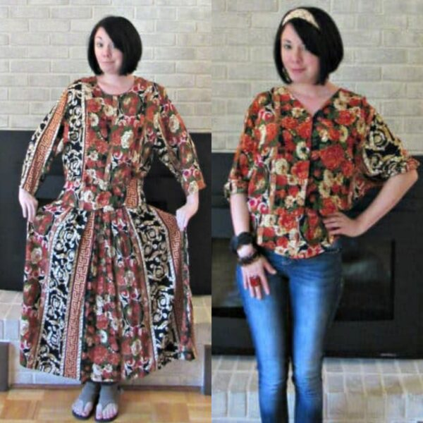 Refashionista Fall Floral Dress to Shirt Refashion pin 3