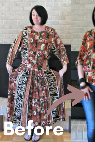 Refashionista Fall Floral Dress to Shirt Refashion pin 2