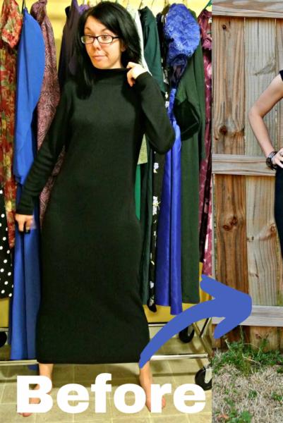 Little Black Sweater Dress Refashion Pin 2
