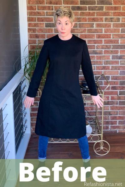 Slit Bottom Sleeve Dress Refashion Pin 3