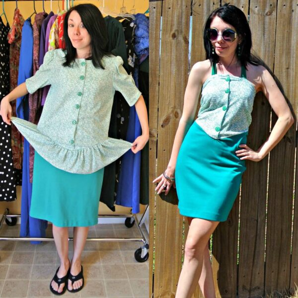 refashionista how to remove a peplum from a dress pin 4