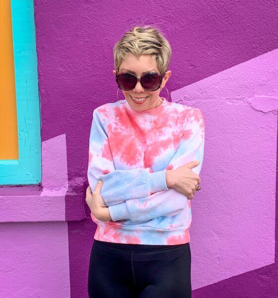 Crumple Tie Dye Technique: Sweatshirt Edition after arms crossed