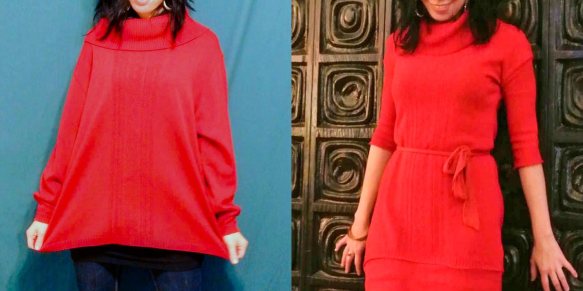 Refashionista Oversized Sweater to Sweater Dress Refashion featured image